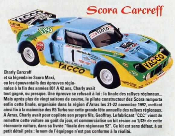 La Scora de Charly Carcreff à la finale des rallyes régionaux en 1992